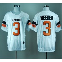 Cowboys #3 Brandon Weeden White Pro Combat Stitched NCAA Jersey