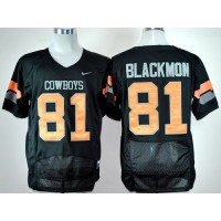 Cowboys #81 Justin Blackmon Black Pro Combat Stitched NCAA Jersey