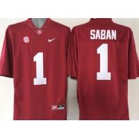 Crimson Tide #1 Nick Saban Red Stitched NCAA Jersey