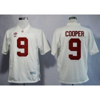 Crimson Tide #9 Amari Cooper White Limited 2016 College Football Playoff National Championship Patch Stitched NCAA Jersey