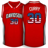 Davidson Wildcat #30 Stephen Curry Red USA Flag College Basketball Jersey