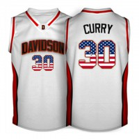 Davidson Wildcat #30 Stephen Curry White USA Flag College Basketball Jersey