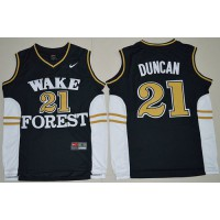 Demon Deacons #21 Tim Duncan Black Basketball Stitched NCAA Jersey