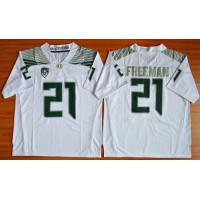 Ducks #21 Royce Freeman White Limited Stitched NCAA Jersey