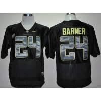 Ducks #24 Kenjon Barner Black With PAC-12 Patch Stitched NCAA Jersey