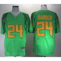 Ducks #24 Kenjon Barner Green Elite PAC-12 Patch Stitched NCAA Jersey