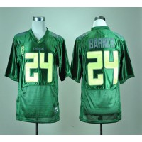 Ducks #24 Kenjon Barner Green With PAC-12 Patch Stitched NCAA Jersey