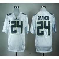 Ducks #24 Kenjon Barner White With PAC-12 Patch Stitched NCAA Jersey