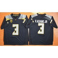 Ducks #3 Vernon Adams Jr. Olive Black(White No.) Stitched NCAA Jersey