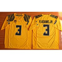 Ducks #3 Vernon Adams Jr. Olive Yellow Stitched NCAA Jersey