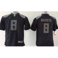 Ducks #8 Marcus Mariota Blackout Stitched Youth NCAA Jersey