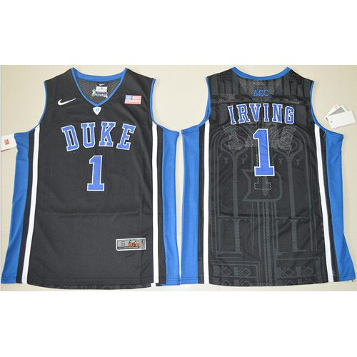 Duke Blue Devils  1 Kyrie Irving Black Basketball Stitched NCAA Jersey 0af1f4544