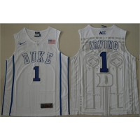 Duke Blue Devils #1 Kyrie Irving White Basketball Stitched NCAA Jersey