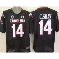 Fighting Gamecocks #14 Connor Shaw Black SEC Patch Stitched NCAA Jersey