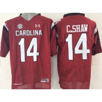 Fighting Gamecocks #14 Connor Shaw Red SEC Patch Stitched NCAA Jersey