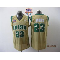 Fighting Irish #23 Lebron James Earth Yellow Basketball 2013 BCS National Championship Stitched NCAA Jersey