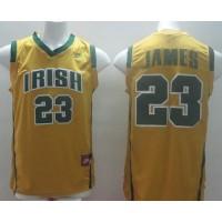 Fighting Irish #23 Lebron James Yellow Basketball Stitched NCAA Jersey