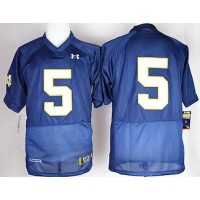 Fighting Irish #5 Everett Golson Navy Blue Shamrock Series Stitched NCAA Jersey