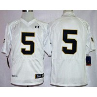 Fighting Irish #5 Everett Golson White Shamrock Series Stitched NCAA Jersey