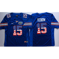 Florida Gators #15 Tim Tebow Blue USA Flag College Jersey