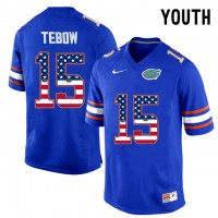 Florida Gators #15 Tim Tebow Blue USA Flag Youth College Football Jersey