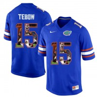 Florida Gators #15 Tim Tebow Blue With Portrait Print College Football Jersey