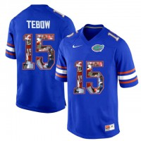 Florida Gators #15 Tim Tebow Blue With Portrait Print College Football Jersey2