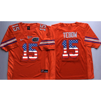 Florida Gators #15 Tim Tebow Orange USA Flag College Jersey