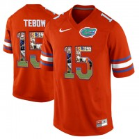 Florida Gators #15 Tim Tebow Orange With Portrait Print College Football Jersey