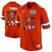 Florida Gators #15 Tim Tebow Orange With Portrait Print College Football Jersey2