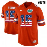 Florida Gators #15 Tim Tebow Red USA Flag Youth College Football Jersey