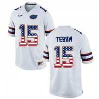 Florida Gators #15 Tim Tebow White USA Flag College Football Jersey