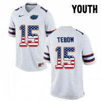 Florida Gators #15 Tim Tebow White USA Flag Youth College Football Jersey