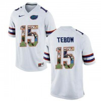 Florida Gators #15 Tim Tebow White With Portrait Print College Football Jersey
