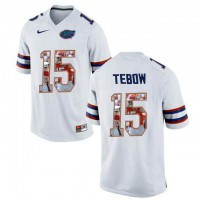 Florida Gators #15 Tim Tebow White With Portrait Print College Football Jersey2