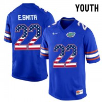 Florida Gators #22 E.Smith Blue USA Flag Youth College Football Jersey