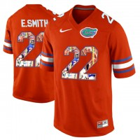 Florida Gators #22 E.Smith Orange With Portrait Print College Football Jersey