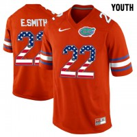 Florida Gators #22 E.Smith Red USA Flag Youth College Football Jersey
