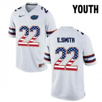 Florida Gators #22 E.Smith White USA Flag Youth College Football Jersey