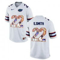 Florida Gators #22 E.Smith White With Portrait Print College Football Jersey