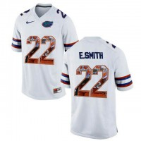 Florida Gators #22 E.Smith White With Portrait Print College Football Jersey2