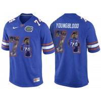 Florida Gators #74 Jack Youngblood Blue With Portrait Print College Football Jersey