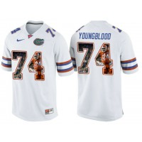 Florida Gators #74 Jack Youngblood White With Portrait Print College Football Jersey2