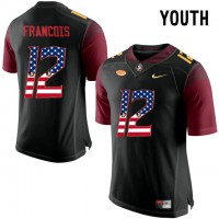 Florida State Seminoles #12 Deondre Francois Black USA Flag College Football Youth Limited Jersey