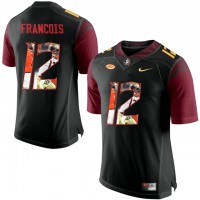 Florida State Seminoles #12 Deondre Francois Black With Portrait Print College Football Jersey2