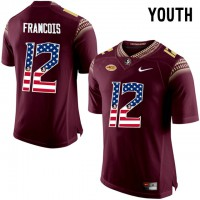Florida State Seminoles #12 Deondre Francois Red USA Flag College Football Youth Limited Jersey