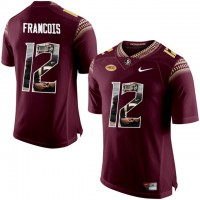 Florida State Seminoles #12 Deondre Francois Red With Portrait Print College Football Jersey