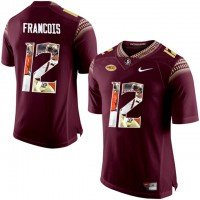 Florida State Seminoles #12 Deondre Francois Red With Portrait Print College Football Jersey2