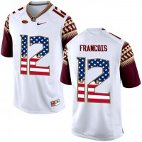 Florida State Seminoles #12 Deondre Francois White USA Flag College Football Limited Jersey