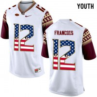 Florida State Seminoles #12 Deondre Francois White USA Flag College Football Youth Limited Jersey